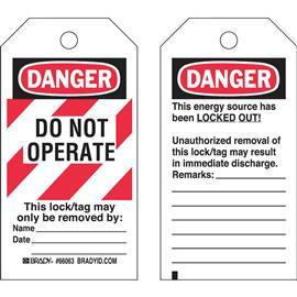 "LOCKOUT TAG BLK/RED ON WHI POLYESTER DANGER HEADER 5.75""X3"" (25PCS/PKT) product photo"