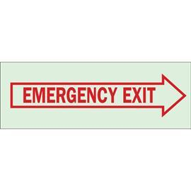 "BRADYGLO EMERGENCY SIGN W/RIGHT ARROW 3.5""X10"" RD/GLOW product photo"