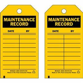 "B837 INSPECTION CTRL: MAINTENANCE RECORD TAG 5.75""X3"" product photo"