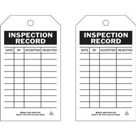 "B851 INSPECTION RECORD 7""X4"" BK/WT product photo"