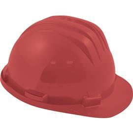 SAFETY HELMET STD + PLASTIC 6 POINT HARNESS RED product photo