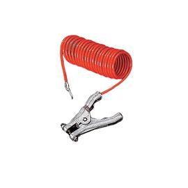 INSULATED COILED GROUNDING WIRE HAND CLAMP 10FT ORANGE product photo