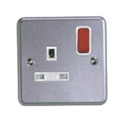 METALCLAD PLUS SHUTTERED SWITCH SOCKET W/RED ROCKER 1G 13A product photo