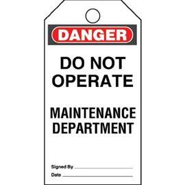 PLASTIC TAG 'DANGER DO NOT OPERATE MAINTENANCE' 5 TAGS product photo