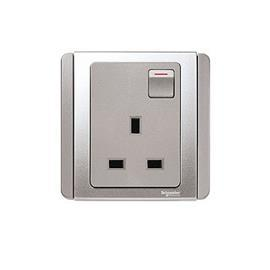 NEO C-METRO SWITCHED SOCKET OUTLET 13A 1G 3 PIN GREY SILVER product photo