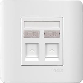 ZENCELO DATA OUTLET CAT 6 ON SHUTTERED WALLPLATE 2G WHITE product photo