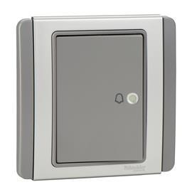 NEO C-METRO HORIZONTAL BELL PUSH SWITCH 4A 1W GREY SILVER product photo