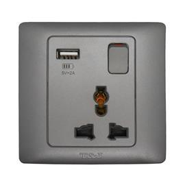 RADIANCE UNIVERSAL SWITCH SOCKET OUTLET 13A C/W USB TITANIUM product photo